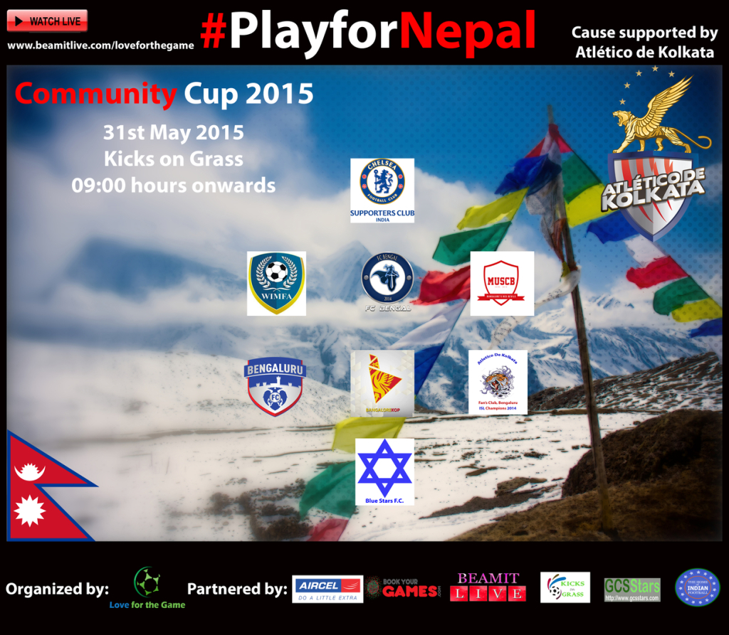 Play for Nepal, Love, Game, Kicks on Grass, Bellandur, Charity, Bangalore, Football, Soccer, Wim FA, Atletico De Kolkata, Live, Streaming, Beam,