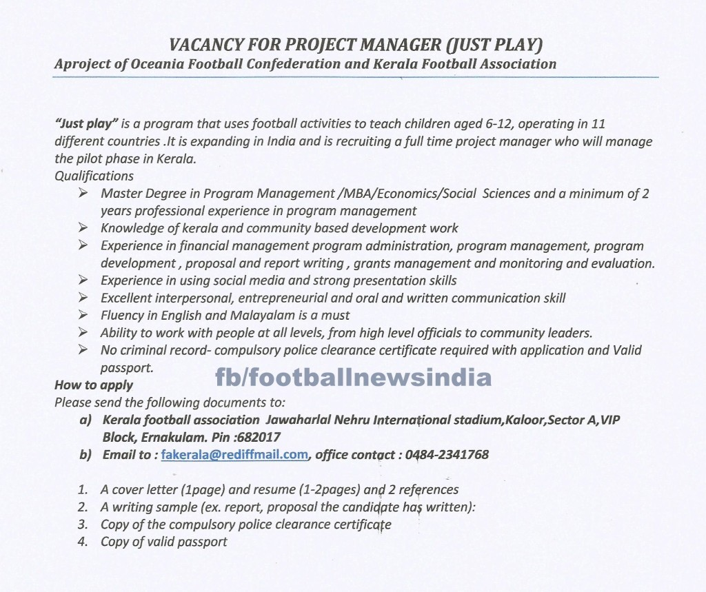 Just Play, Football, Kerala, Grassroots, KFA, AIFF, OFC, Australia, Oceania Football Confederation, Grassroots, State, Job, Application
